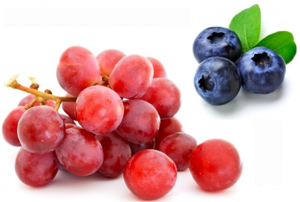 red grapes and blueberries