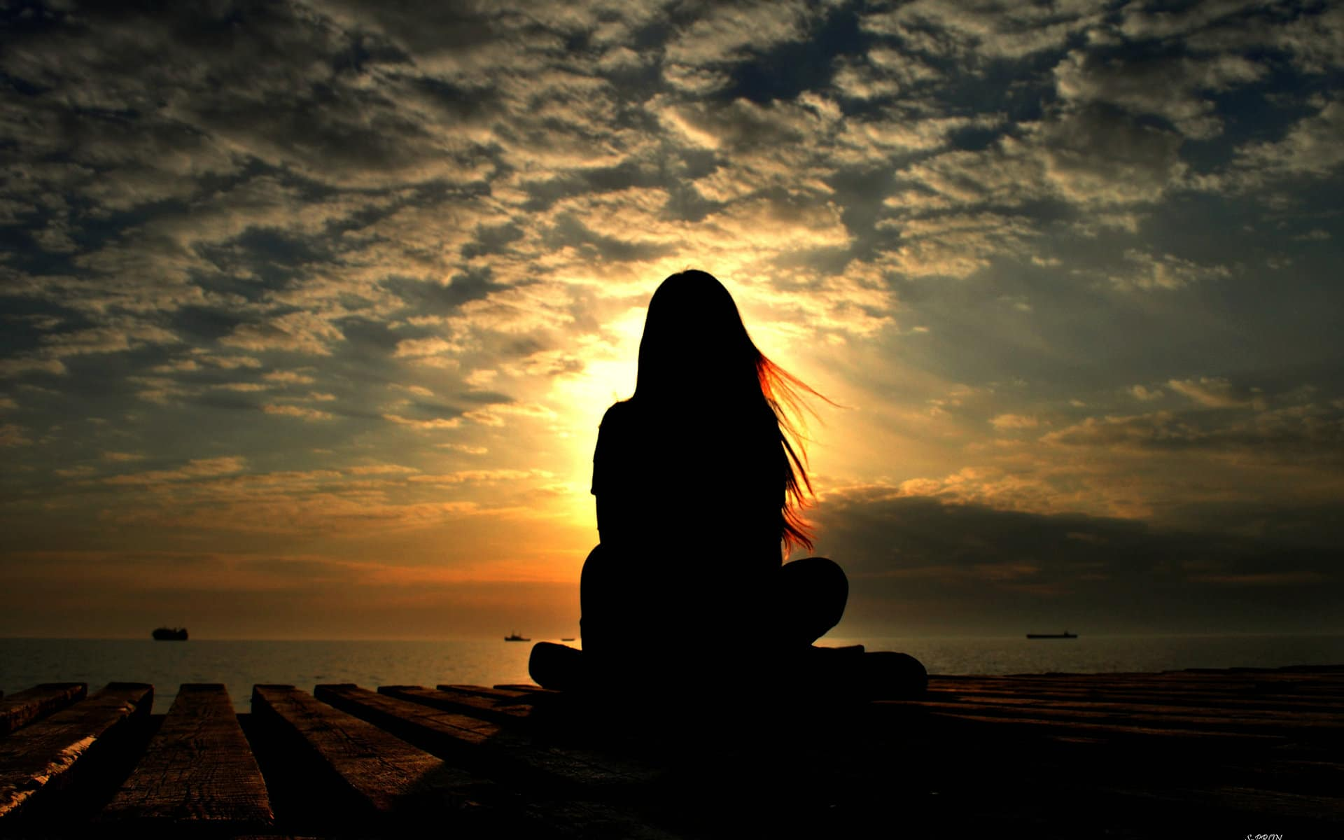 meditation at sunset